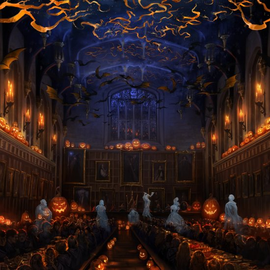 Hogwarts_PM_B3C8M1_GreatHallHalloweenWithGhostsAndStudents_Moment